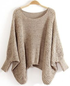 comfortable loose fitting beige knitted sweater