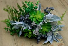 Silk Succulents, Berries and Greenery with Winter Sage Accents-Wedding Bouquet