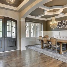"inspiration for dining room ""Beautiful architectural details by Gonyea Homes "" Home Ceiling, Ceiling Decor, Ceiling Ideas, Interior Columns, Interior Design, Entry Way Design, Small Dining, Dining Room Design, Great Rooms"