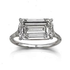 This Lab treated emerald engagement ring white gold diamond is just one of the custom, handmade pieces you'll find in our engagement rings shops. Emerald Cut Diamond Engagement Ring, Engagement Ring Cuts, Emerald Cut Diamonds, Pink Diamonds, Solitaire Engagement, Bling Bling, The Bling Ring, Gold Ring, Diamond Bracelets