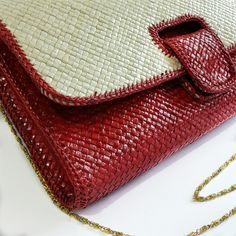 Handmade woven clutch red color