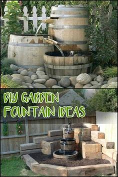 Garden Fountain Add a water feature to your outdoor space! Be inspired to build your own by heading over to our site ;)Add a water feature to your outdoor space! Be inspired to build your own by heading over to our site ; Yard Water Fountains, Landscaping With Fountains, Diy Water Fountain, Diy Garden Fountains, Pool Landscaping, Garden Water, Outdoor Fountains, Fountain Ideas, Water Gardens