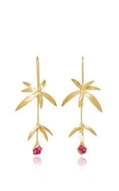 Long Wild Flower Earrings by Annette Ferdinandsen for Preorder on Moda Operandi