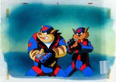 Animation Art: Production Cel, SWAT Kats The Radical Squadron Production Cel Set-Up and KeyMaster Background (Hanna-Barbera, 1993).... (Total: ...