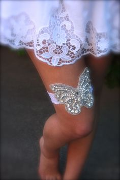 Butterfly Bridal Garter with beaded rhinestones butterfly wedding garter on stretch lace band for garden rustic chic wedding by GracefullyGirly, $46.00