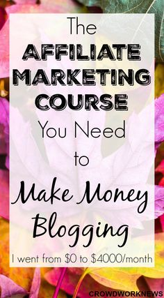 Are you new to blogging or having a hard time making money from your blog? Click through to read this post about the only affiliate marketing course you will need to make money from your blog. I went from $0 to $4000/month in just 7 months due to this course.