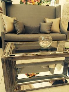 Our new Reflections Coffee Table with our ever popular Grey Banquette. beachview.net | Beachview Event Rentals & Design