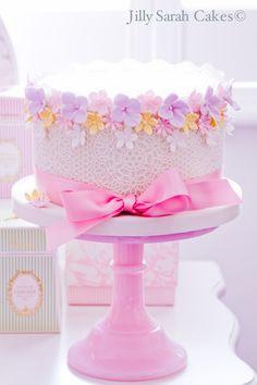 Flower Border and Ribbon Birthday Cake