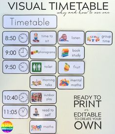 Printable Editable Visual Timetable Cards - one of the most effective tools in any early years classroom. Ready to print timetable cards or editable to add your own font/text Daily Schedule Template, Schedule Cards, Daily Schedule Kids, Visual Schedule Printable, Daily Routine Chart, Family Schedule, Toddler Schedule, Free Printable, Visual Timetable