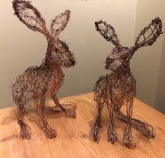 Freehand wire Hare Sculpture by Paul green