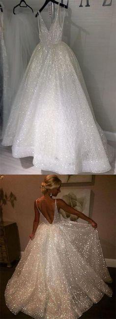 Sequins V-Neck White Backless A-Line Sleeveless Elegant Plus Size Prom Dresses uk#white#sequins#vneck#backelss#vback#sleeveless#elegant#unique