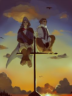 Haytham & Connor  Assassin's Creed. >> I always liked their Sync Points, Ezio and Altaïr's were cool too, but I liked how they stood on them, on their toes, rather than like a frog.