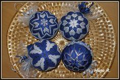 sada vánočních ozdob 6cm tmavě modrá se stříbrnou
