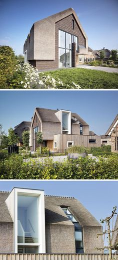 façade en briques, bardage bois extérieur et toit de chaume - une maison privée contemporaine