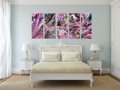 Garden, x x - 5 Canvases, Acrylic on Canvas, Chelsea Klamm 2018 Chelsea, Canvases, Abstract Art, Bed, Garden, Wall, Painting, Furniture, Home Decor