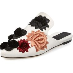 Sanayi313 Saponaria Floral Embroidered Mule ($955) ❤ liked on Polyvore featuring shoes, flats, shoes mules, white pattern, pointed toe flats, white shoes, embroidered flat shoes, embroidered shoes and flower print shoes