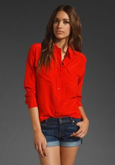 equipment signature chinese red blouse