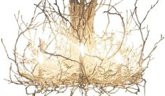 tree branch chandelier diy bathroom above cast iron tub