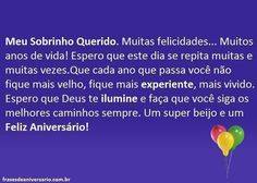 Sobrinho Querido – Frases de Aniversário Gabriel, Facebook, Happy Birthday Sms, Anniversary Message, Cross Paintings, Powerful Quotes, Life, Hampers, Friends
