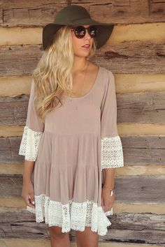 London Fog Mocha Scoop Neck Multi Tiered Peasant Dress With Lace Hem & Bell Sleeves