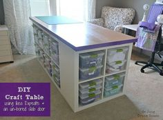 DIY Craft Table--made from 2 Ikea Expedit long storage shelves and a door