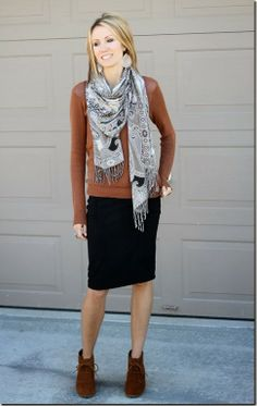 Mix brown and black with a pencil skirt, patterned scarf and ankle boots
