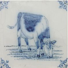Harlinger hand painted tile - cow