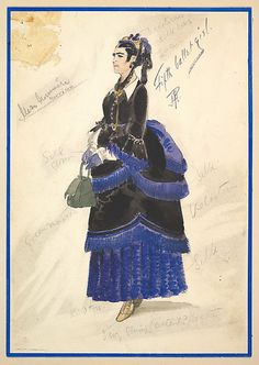 Costume Design for 'Fifth Ballet Girl' (Long Black Gown)  Percy Anderson (British, 1850/51–1928 London)  Date: 1901 Medium: Watercolors over graphite Classification: Drawings