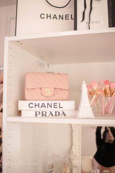 Pink Walk in Closet Beauty Room Reveal Teen Bedroom Designs, Bedroom Decor For Teen Girls, Room Ideas Bedroom, Bed Room, Chanel Inspired Room, Cube Storage Shelves, Closet Storage, Storage Ideas, Bathroom Makeup Storage