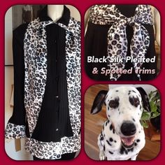 Pleated Silk Black Jacket with Black/White Animal print Trim ..featured with same trim scarf/tie & my gorgeous dalmatian model Finn www.sannizet.com.au from Size 8 to 22