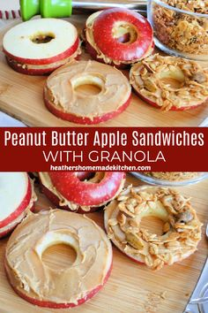 These Peanut Butter Apple Sandwiches with Granola are a great way to jazz up snacks! A fun and healthy snack that is easy, quick and delicious! Cereal Recipes, Fruit Recipes, Snack Recipes, Apple Snacks, Fruit Snacks, Healthy Fruits, Healthy Snacks, Apple Sandwich, Apple And Peanut Butter