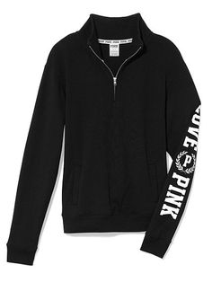 Boyfriend Half Zip Sweatshirts from VS. No particular color. I like these because they have pockets and no hood. Size M.