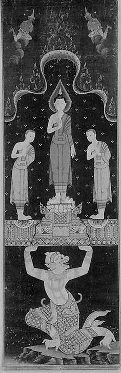 From the Metropolitan Museum of Art, this is a a scroll painting of a Buddhist Temple. It is a of Thai origin, dating at around A.D. 1800-1900.