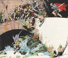Prince Valiant battles a horde of Vikings - by Hal Foster