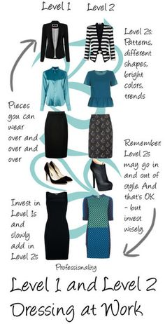 Level 1 & Level 2 Professional Dress Advice  Women have SO MANY options when it comes to choosing what to wear to work. Honestly, it's overwhelming. First of all, we need to understand what fit, color, style and proportions work for us. And as you know, I always say that you have to know your personal brand so that you can choose your professional look to match your internal values and strengths. And even if you feel on top of all of that, there are new styles and colors and patterns th