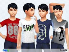 T-Shirt  collection for boys with nice print.  Found in TSR Category 'Sims 4 Male Child Everyday'