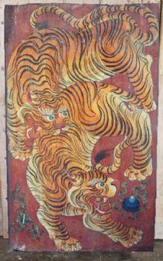 Red Tiger Door - 2Tigers - SOLD Tibetan Dragon, Tibetan Art, Japanese Tiger, Japanese Art, Korean Art, Asian Art, Tiger Dragon, Dragon Art, Japanese Embroidery