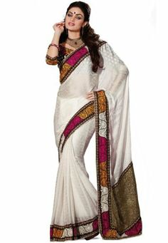 Indian Designer Wear White Embroidered Saree Fabdeal, http://www.amazon.de/dp/B00HGEPINM/ref=cm_sw_r_pi_dp_HC9otb16M7RT0