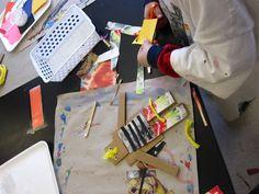 South School Art Studio: Kindergarten: Cardboard scrap people