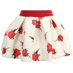 Monnalisa Bebe - Baby Girls Navy Blue Printed Neoprene Skirt | Childrensalon