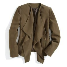 This is a fun alternative for a black blazer during the workweek! Stitch Fix Monthly Must-Haves: Amp up the workweek with a waterfall blazer in a moss green shade. Stitch Fit, Stitch Fix Fall, Stitch Fix Jacket, Work Fashion, Fashion Outfits, Fashion Styles, Runway Fashion, Fashion Jewelry, Women's Fashion