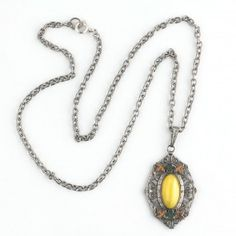 Art Deco chrome plated pendant with enamel decor and yellow satin glass stone.  Czechoslovakia. pdbg109(e)