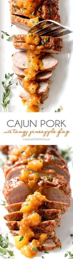 Company pleasing Cajun Pork smothered in Tangy Pineapple Glaze is sweet and spicy and melt in your mouth tender! The layers of flavor or out of this world!