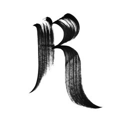 Thick brushstroke capital R. Handrawn typography.