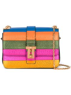 VALENTINO 'Rockstud' Striped Shoulder Bag. #valentino #bags #shoulder bags #leather #