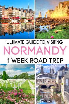 Plannning a vacation in northern France? This is the ultimate guide to a one week road trip in the beautiful Normandy region of northern France. This Normandy travel guide and itinerary tells you everything to see and do in Normandy, with options for extending your trip. It also gives you tips for visiting Normandy, including what to eat and where to stay. You'll travel to Rouen, Honfleur, Bayeux, Giverny, Deauville, etc. These are some of the most beautiful towns in France. France… Paris Latin Quarter, D Day Beach, Normandy France, Medieval Town, Culture Travel, France Travel, Pilgrimage, Plan Your Trip, Travel Inspiration