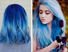 tie and dye blond platine avec mèches bleues, coupe de cheveux mi longs et bouclés avec ombré en bleu