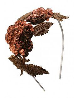Frederika Sequin Headpiece in Bronze