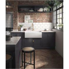 Shaker Kitchen, Kitchen And Bath, New Kitchen, Butler Sink Kitchen, Kitchen Brick, Kitchen Ideas, Loft Kitchen, Kitchen Sinks, Kitchen White