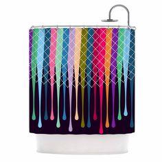 """Famenxt """"Rainbow Drops"""" Multicolor Argyle Shower Curtain"""